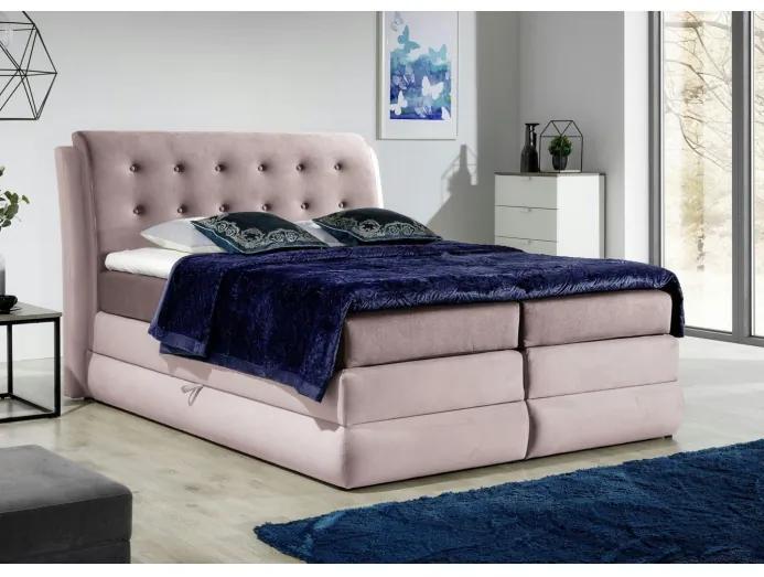 Mohutná kontinentální postel Vika 120x200, růžová + TOPPER