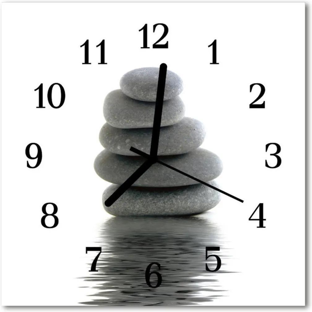 Skleněné hodiny čtvercové kameny
