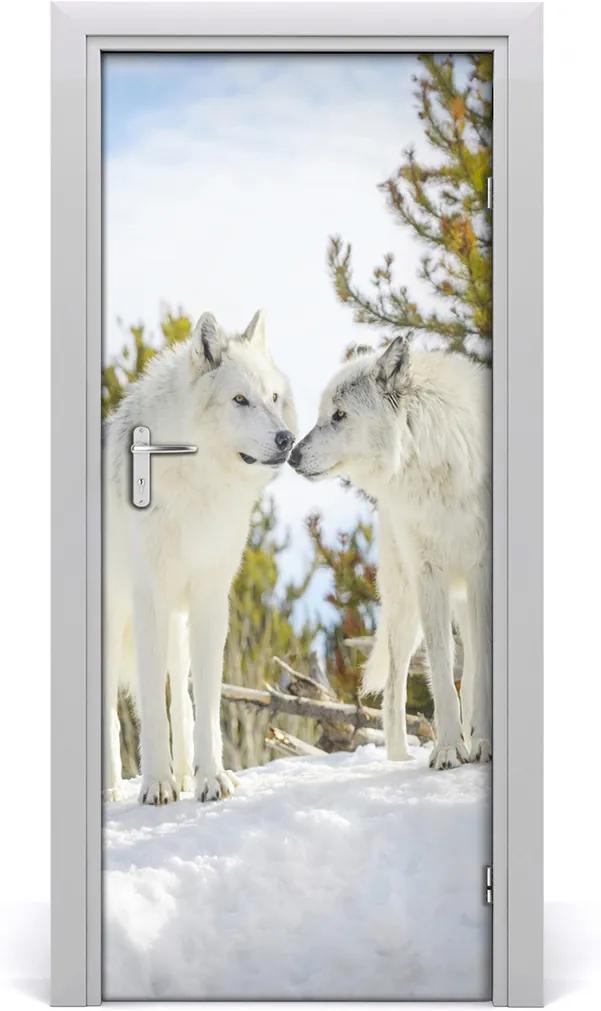 Samolepící fototapeta na dveře Dva bílí vlci