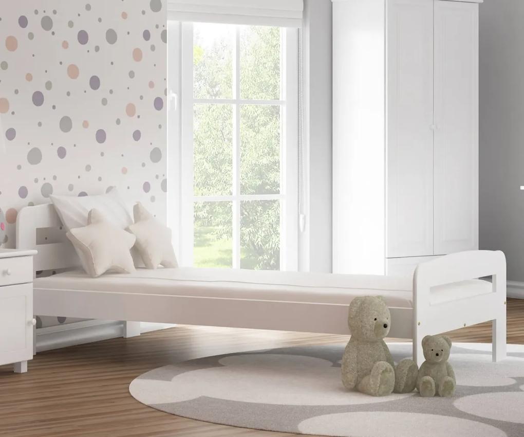AMI nábytok Postel borovice Nastěnka 90x200 masiv bílá