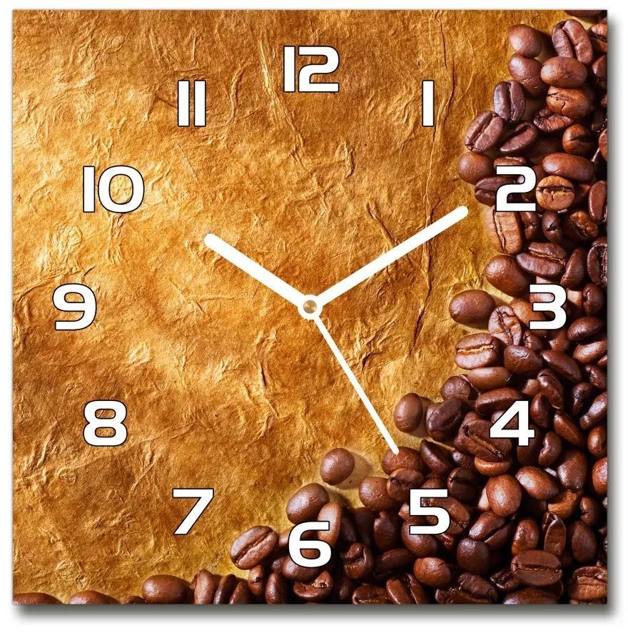 Sklenené hodiny štvorec Zrnká kávy pl_zsk_30x30_f_102310086