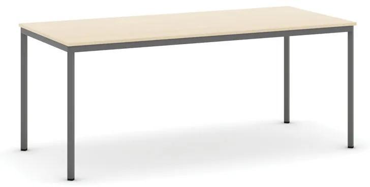 Stôl jedálenský, 1800 x 800 mm doska breza, podnož tm. sivá