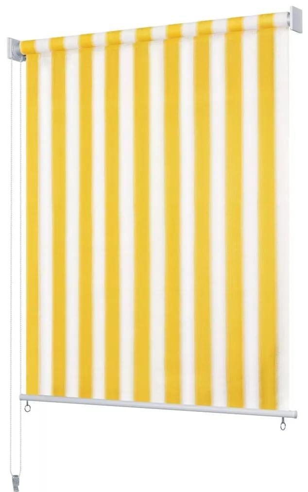 vidaXL Vonkajšia zatemňovacia roleta, 140x140 cm, žlté a biele pásiky