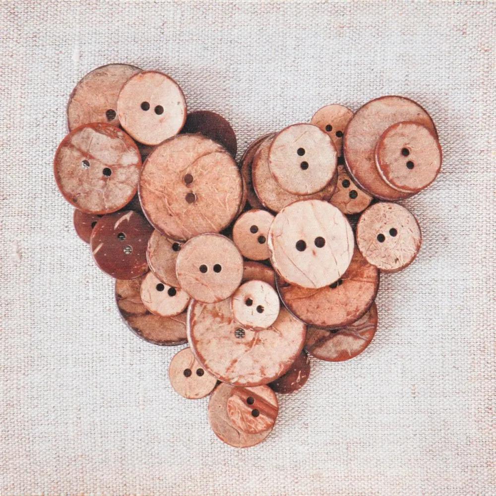Falc Obraz na plátne - Button Heart, 28x28 cm