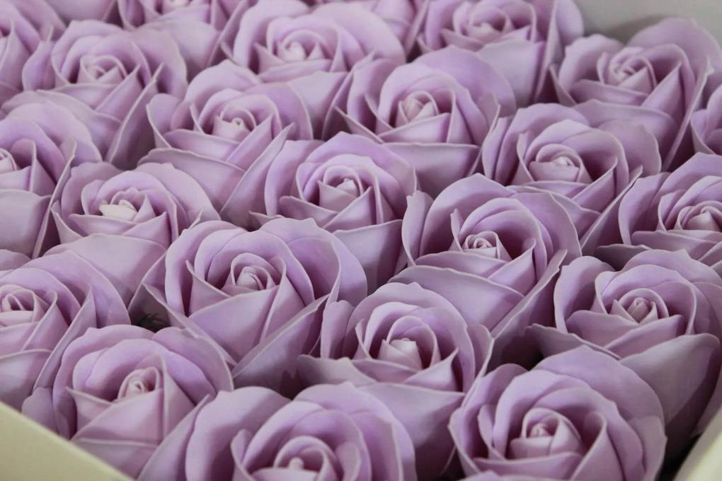 Fialové mydlové ruže 50ks 6cm