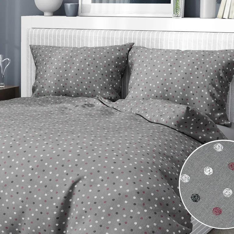 Goldea bavlnené posteľné obliečky - vzor 948 farebné bodky na tmavo sivom 140 x 220 a 70 x 90 cm
