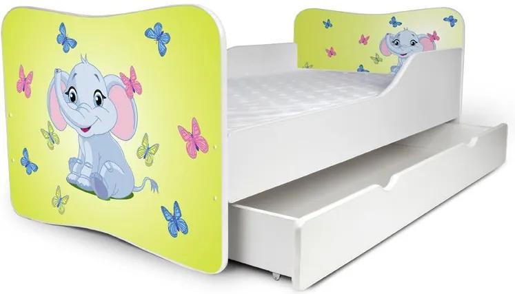 MAXMAX Detská posteľ so zásuvkou Sloník lemon + matrac ZADARMO 180x80 pre všetkých ÁNO