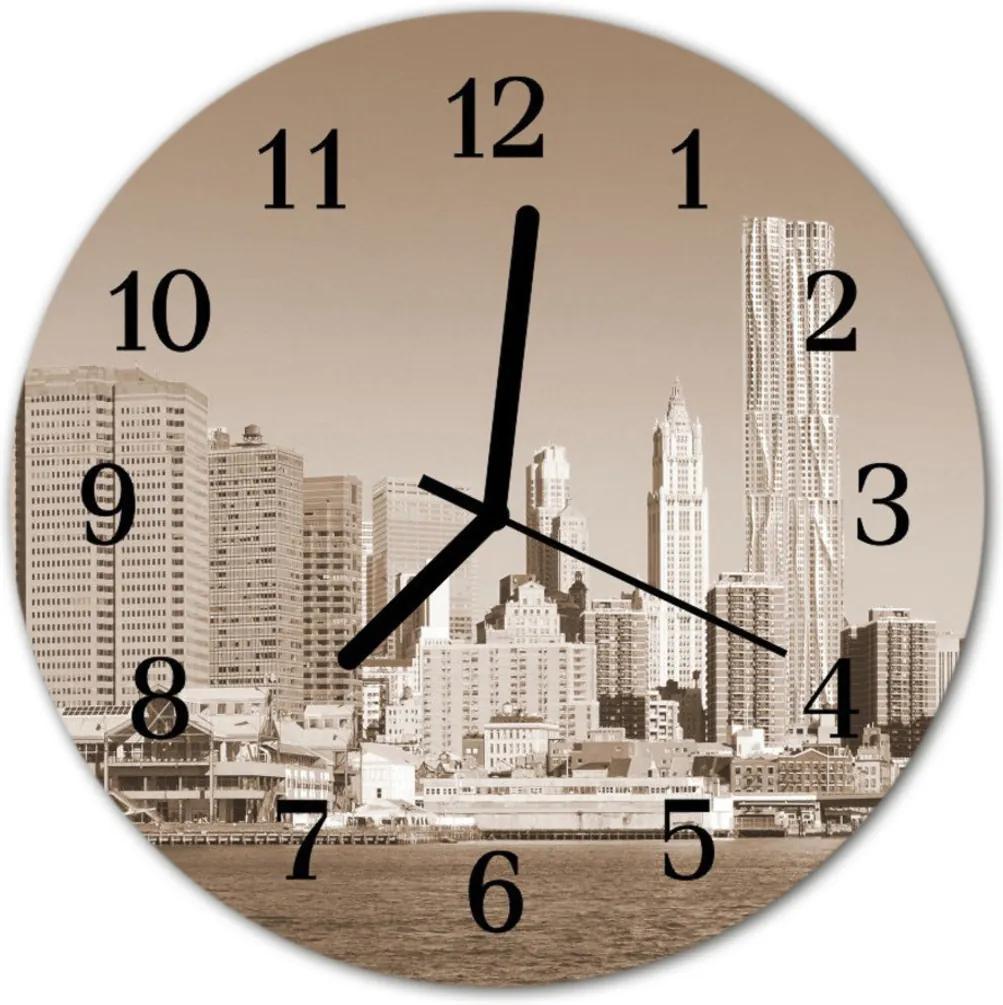 Sklenené hodiny okrúhle  mestské budovy