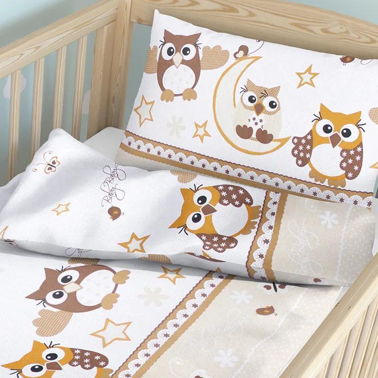 Goldea detské bavlnené obliečky do postieľky - vzor 116 sovičky vo hviezdach 90 x 120 a 40 x 60 cm