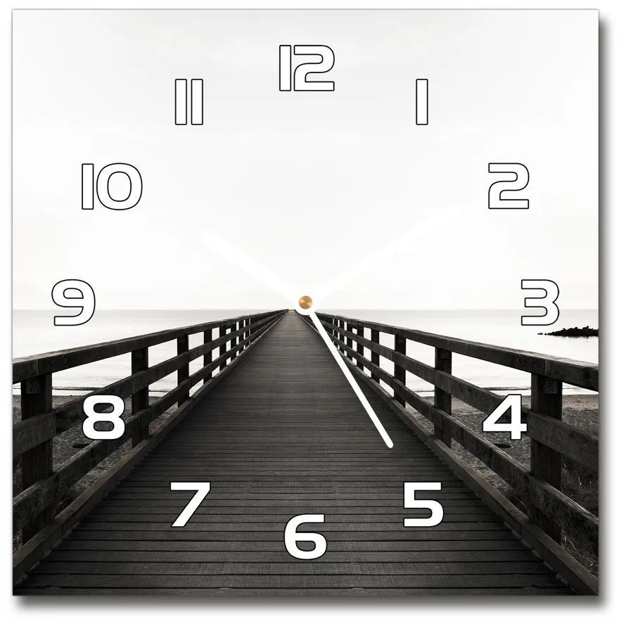 Sklenené hodiny štvorec Drevené mólo pl_zsk_30x30_f_83254828