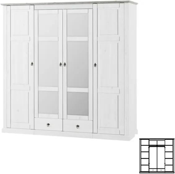 Kombinovaná skříň, bílá, LIONA  LM 74 0000108614 Tempo Kondela