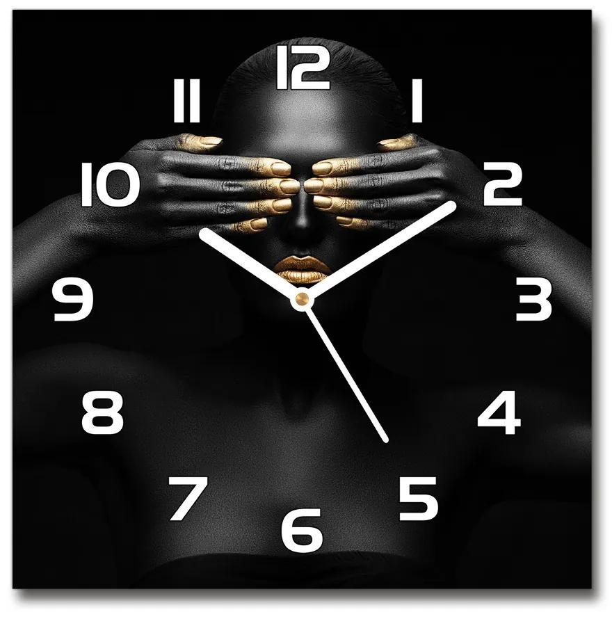 Sklenené hodiny štvorec Žena v čiernom pl_zsk_30x30_f_56248065