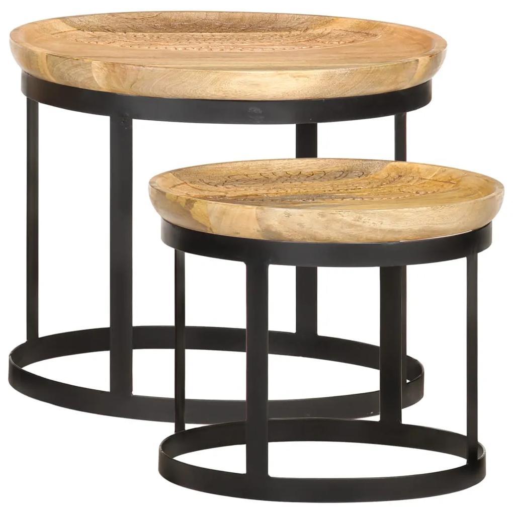 vidaXL Okrúhle príručné stolíky 2 ks mangovníkový masív a oceľ