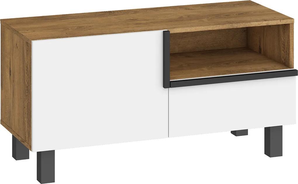 MEBLOCROSS Lars LAR-08 tv stolík dub burgundský / biela