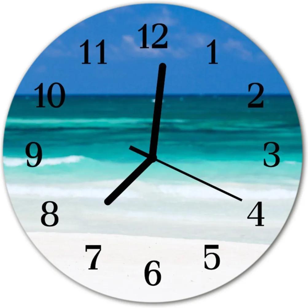 Skleněné hodiny kulaté Moře na pláži