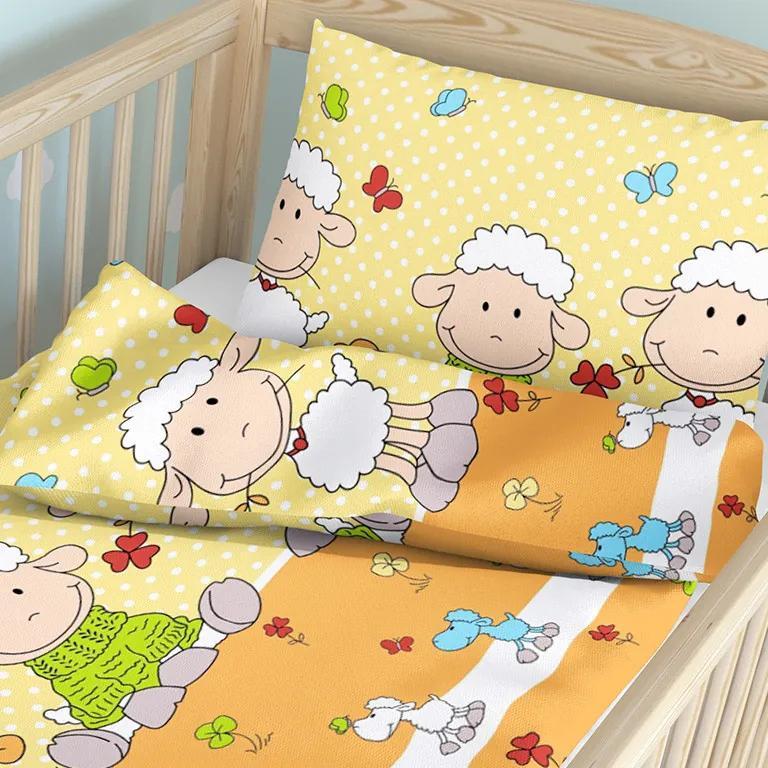 Goldea detské bavlnené obliečky do postieľky - vzor 608 ovečky na žltom 90 x 120 a 40 x 60 cm