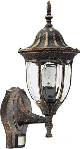 Rábalux 8370 Vonkajšie Nástenné Svietidlá s Čidlom Pohybu antická zlatá E27 1x MAX 60W 165 x 410 mm