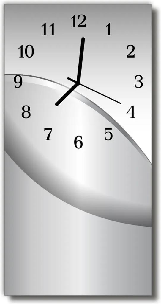 Skleněné hodiny vertikální Kovová šedá grafika