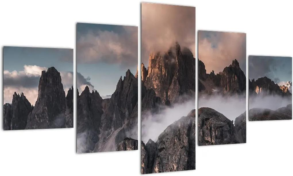 Obraz - Talianske dolomity schované v hmle (125x70 cm), 40 ďalších rozmerov