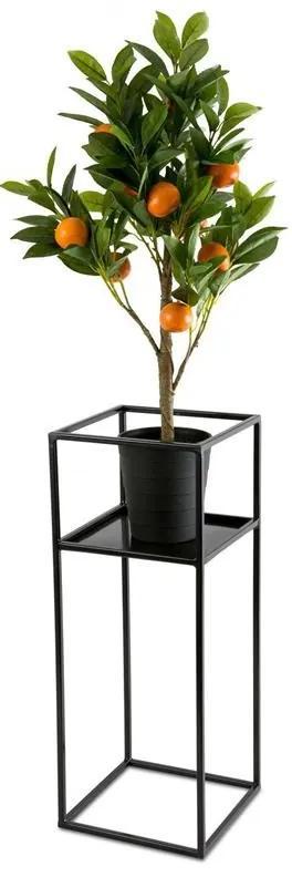 DekorStyle Stojan na kvety s policou 60 cm čierny