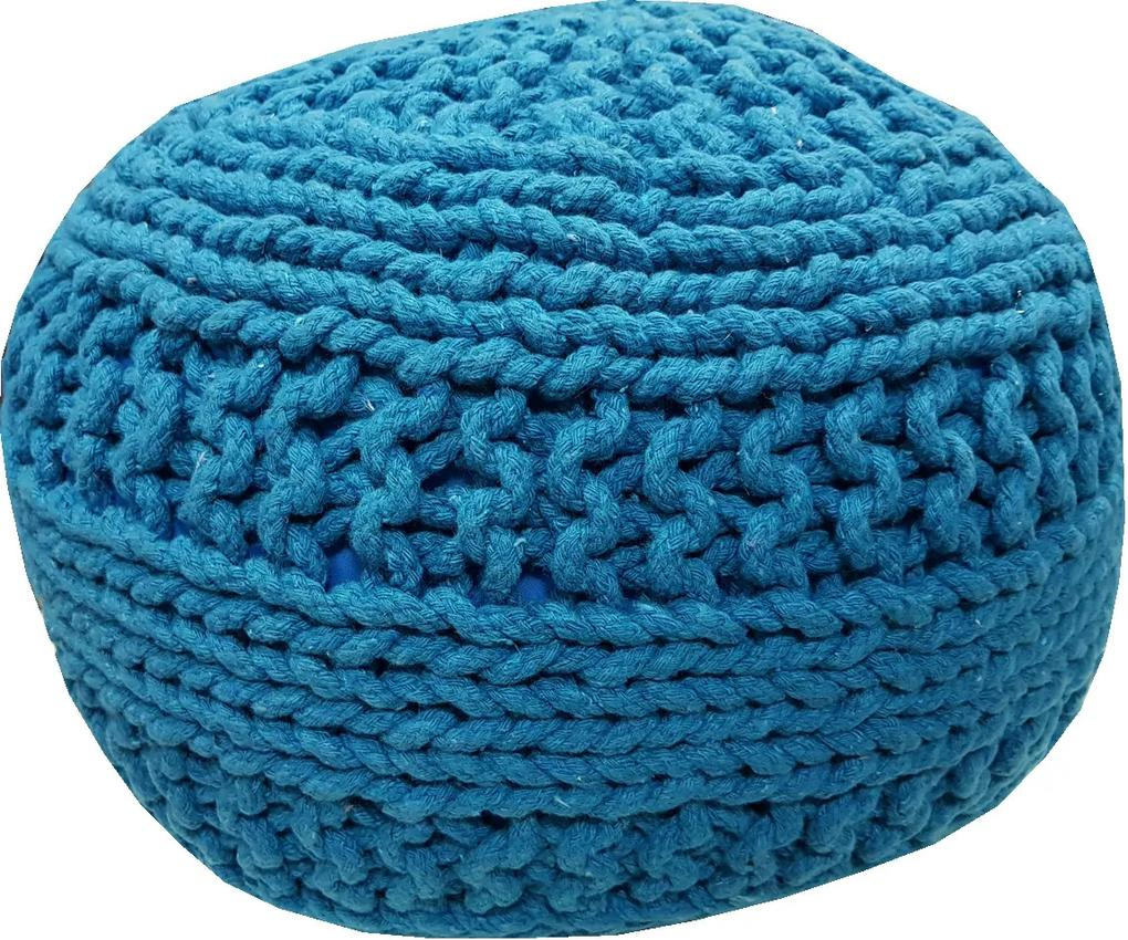 KUDOS Textiles Pvt. Ltd. Sedací vak TEA POUF 8 tyrkysový - 40x40x35 cm