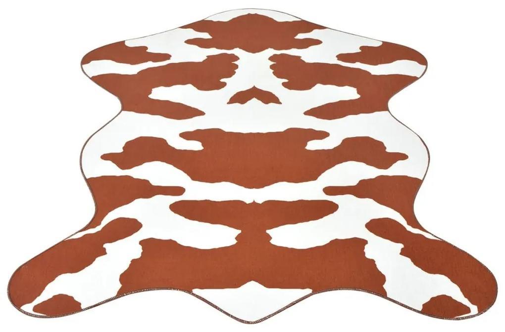 vidaXL Tvarovaný koberec, 110x150 cm, potlač kravskej srsti, hnedý