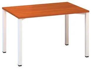 Konferenčný stôl Alfa 420 s bielym podnožím, 120 x 80 x 74,2 cm, rovné vyhotovenie, dezén čerešňa