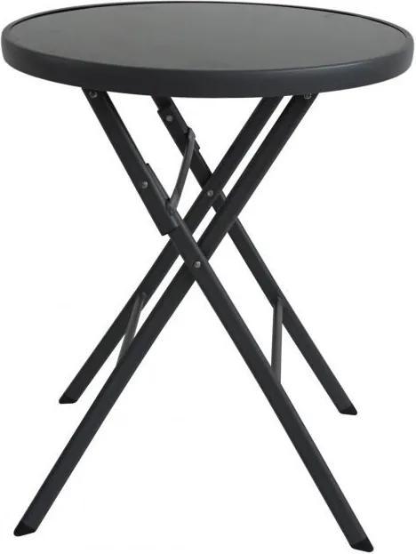 ModernHOME Záhradný stolík skladací 60 cm čierny, SC-091