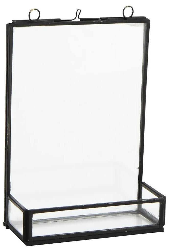 MADAM STOLTZ Fotorámček z dvojitého skla s priehradkou Antique Black