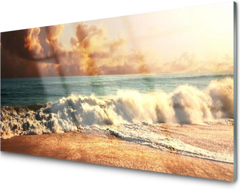 Sklenený obklad Do kuchyne Oceán Pláž Vlny Krajina