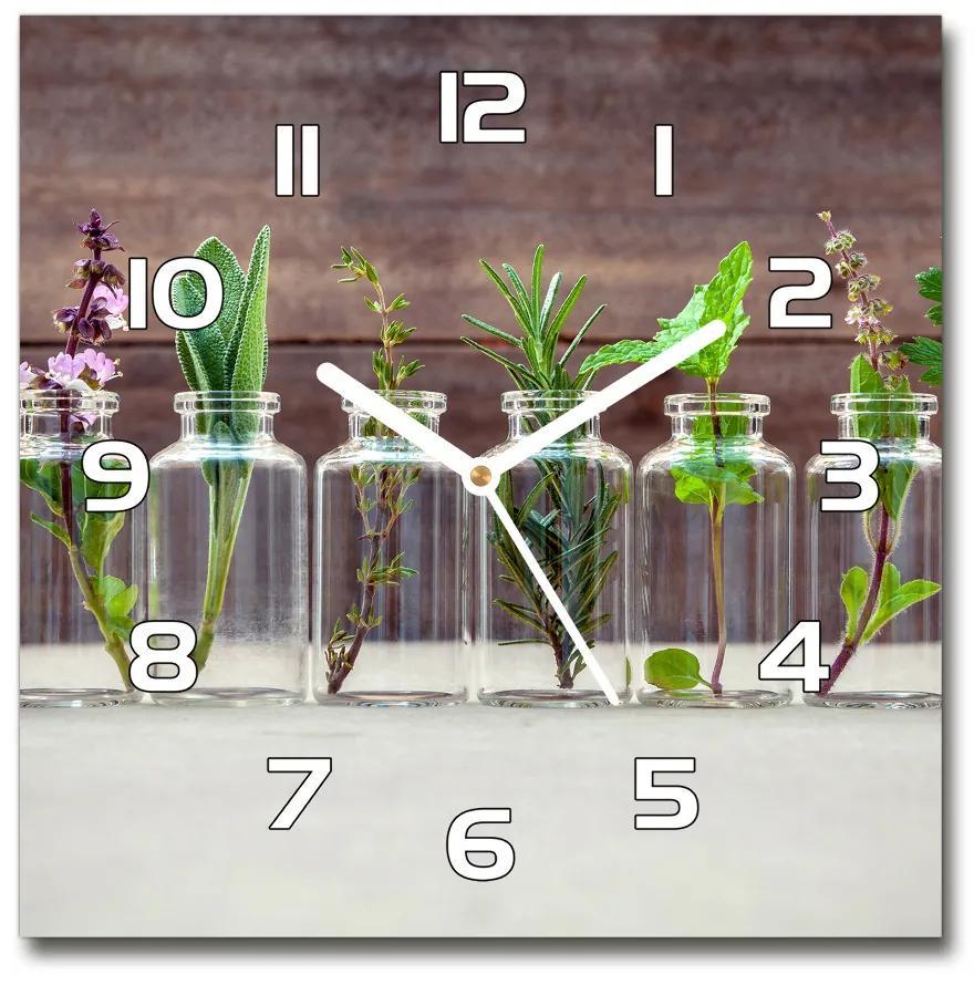 Sklenené hodiny štvorec Rastliny v pohároch pl_zsk_30x30_f_107111601