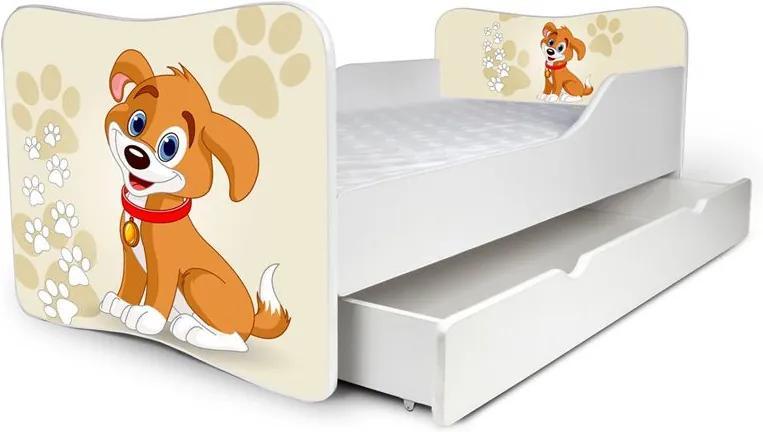 MAXMAX Detská posteľ so zásuvkou PSÍČEK + matrac ZADARMO 160x80 pre všetkých ÁNO