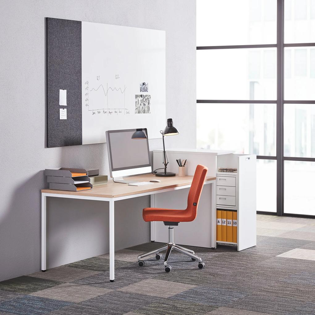 Bočná kancelárska skrinka Modulus, ľavá, biela