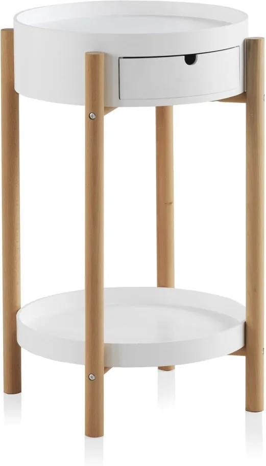 Biely príručný stolík so zásuvkou a nohami z bukového dreva Geese Nordic Style Malo