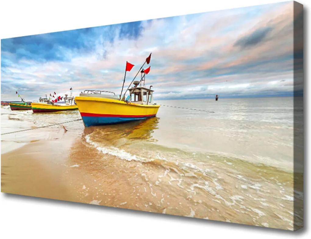 Obraz Canvas Loďky Pláž More Krajina