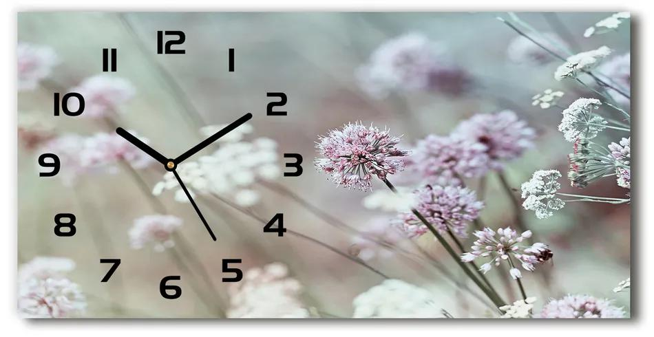 Sklenené hodiny na stenu tiché Divoké kvety pl_zsp_60x30_f_68608156