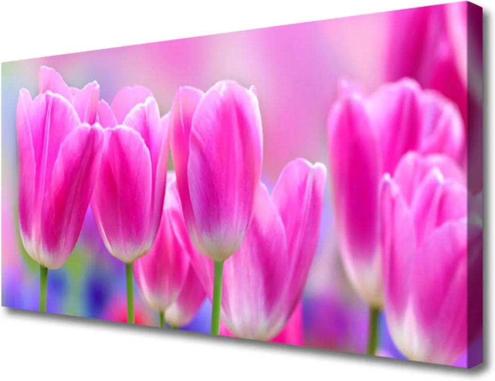 Obraz na plátně sklenený Tulipány