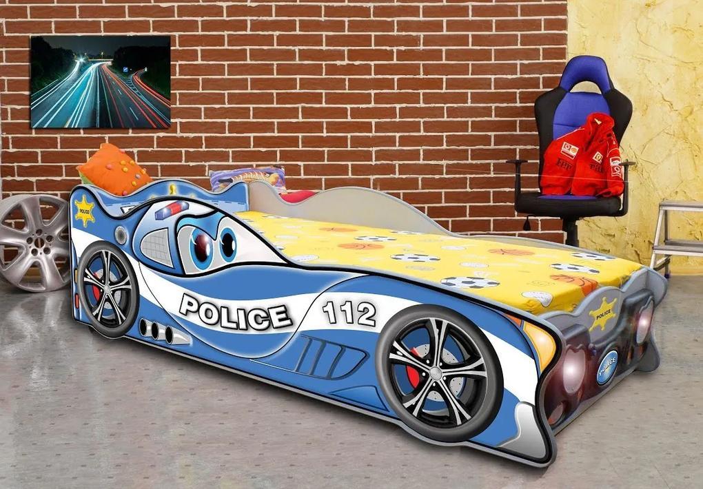 MAXMAX Detská autopostel CARS POLÍCIA 160x80 cm 160x80 pre chlapca NIE