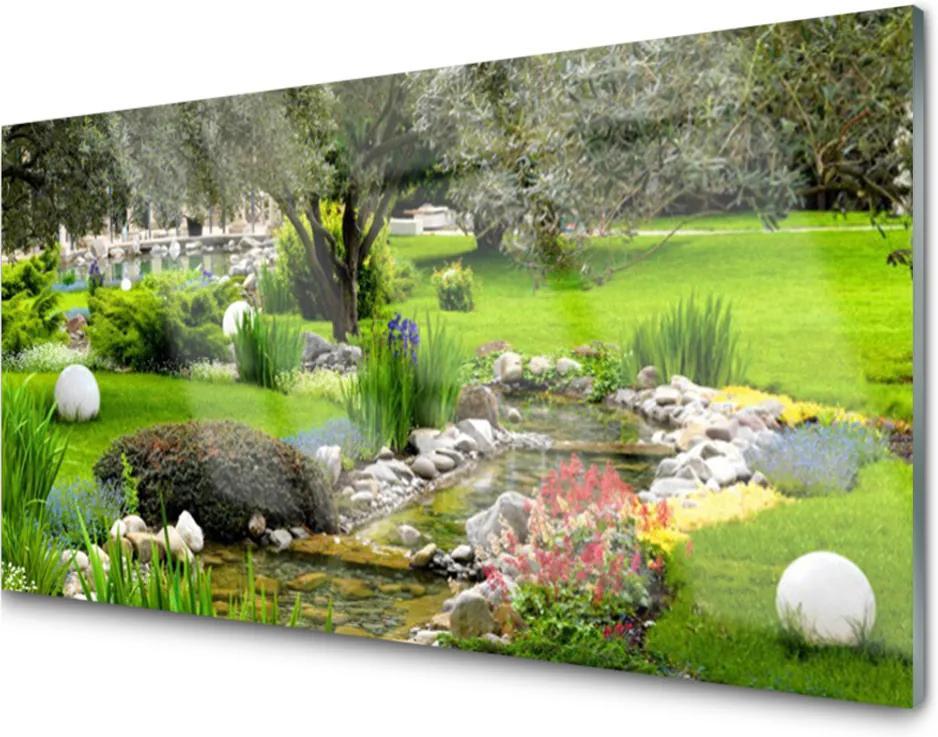 Skleněný obraz Zahra strom květiny příroda