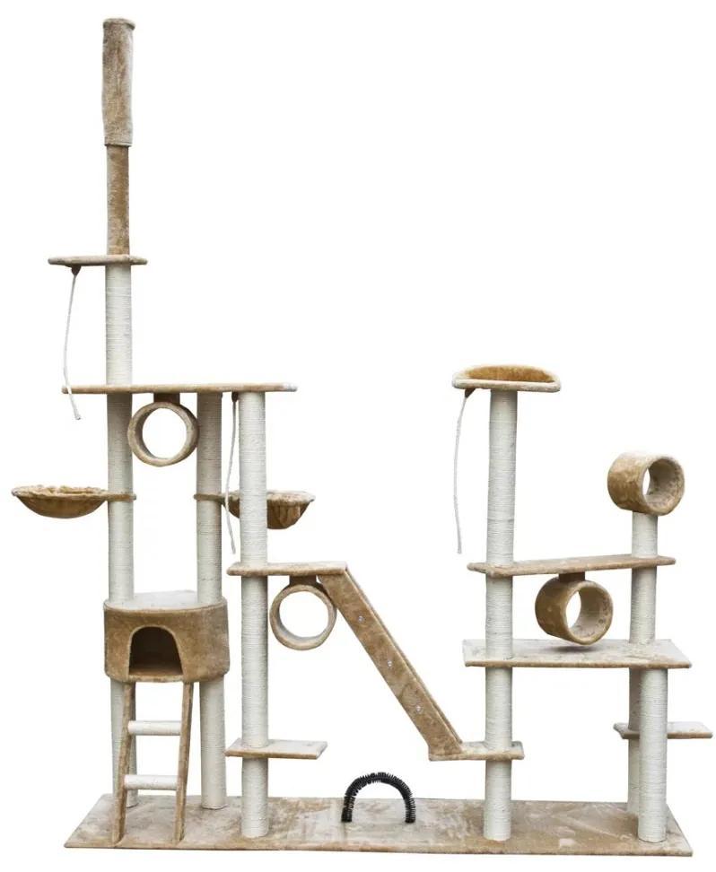Škrabadlo pre mačky Deluxe 230 - 260 cm krémový plyš