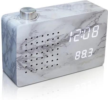 Sivý budík s bielym LED displejom a rádiom Gingko Radio Click Clock Marble