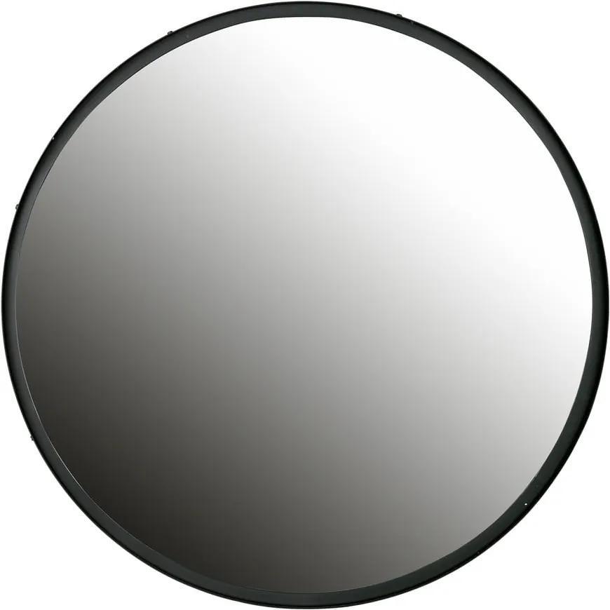 Nástenné zrkadlo s čiernym rámom WOOOD Lauren, Ø 80 cm