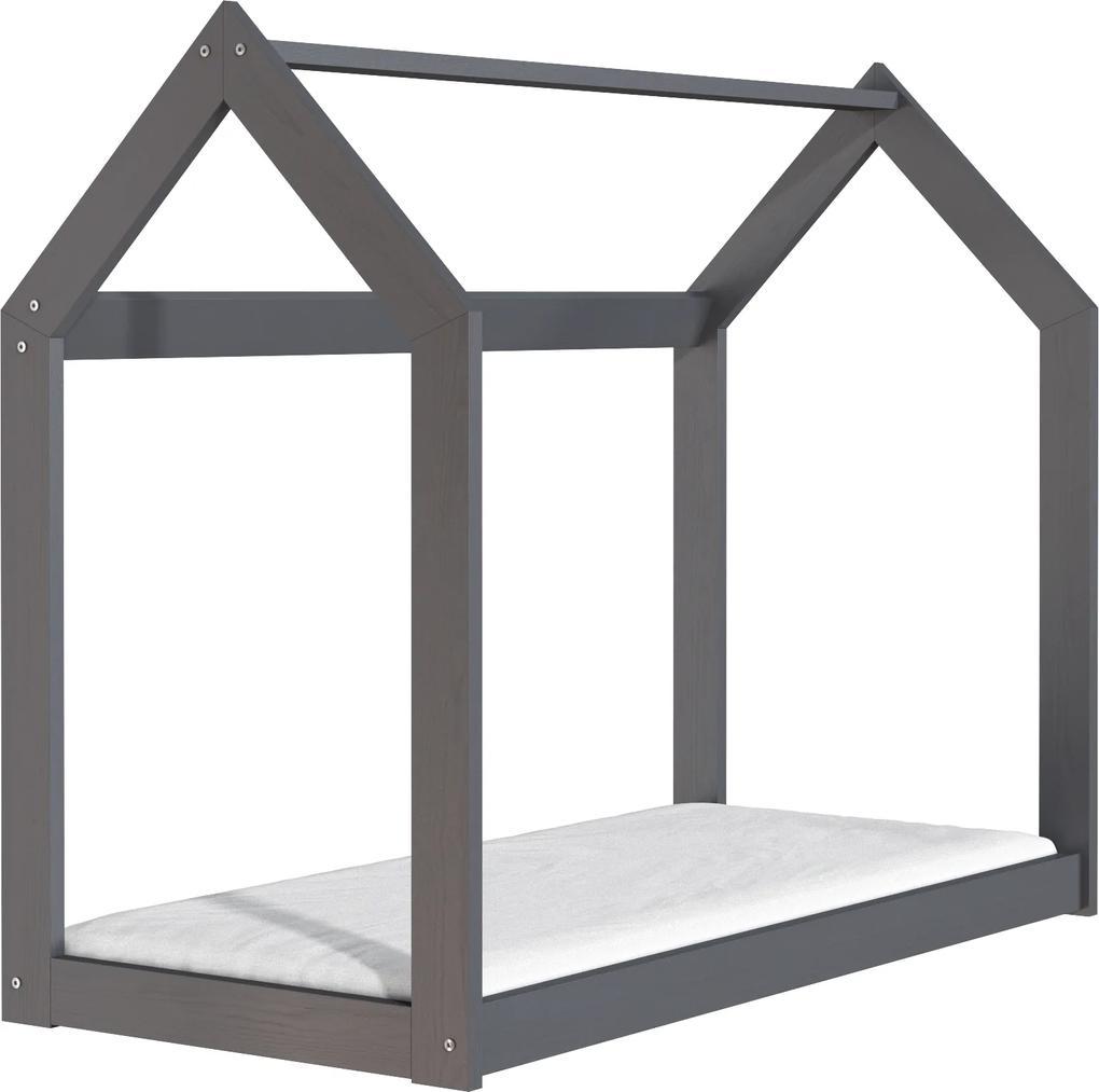 Drevobox Drevená posteľ domček 160 x 80 cm šedá + rošt