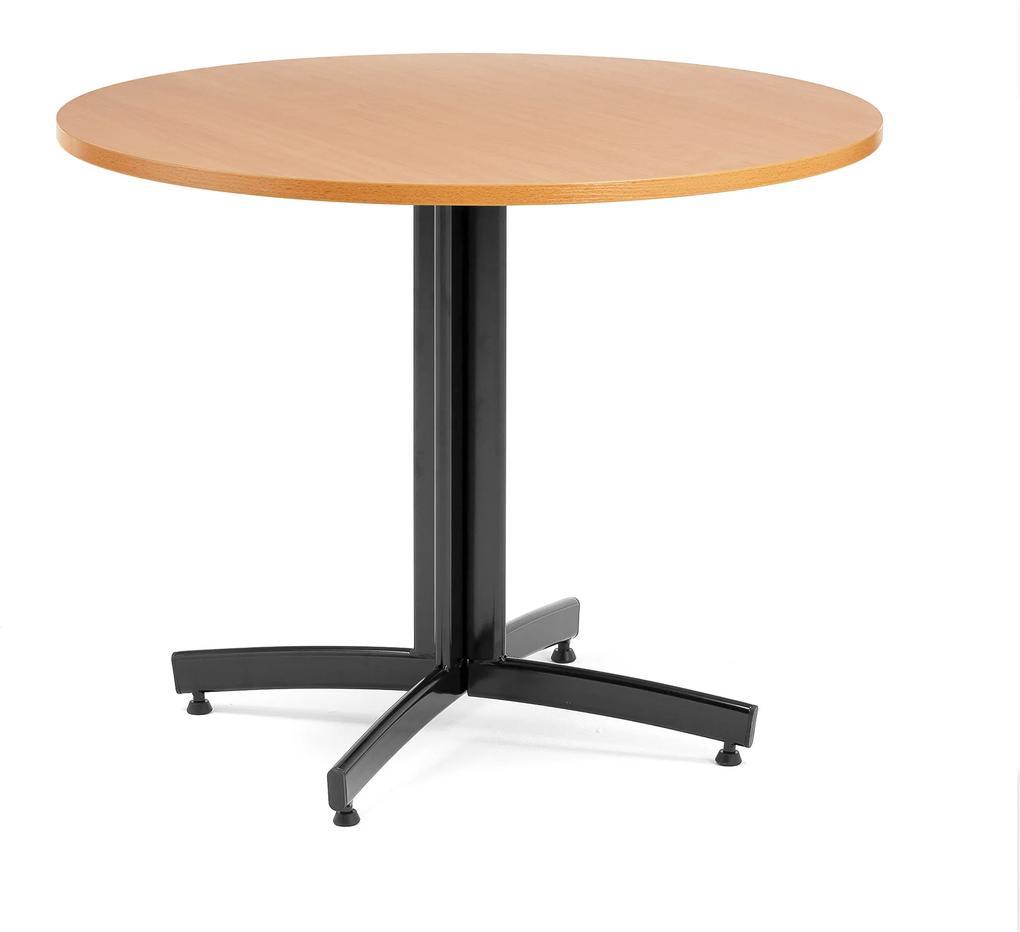 Jedálenský stôl Sanna, okrúhly Ø 900 x V 720 mm, buk / čierna