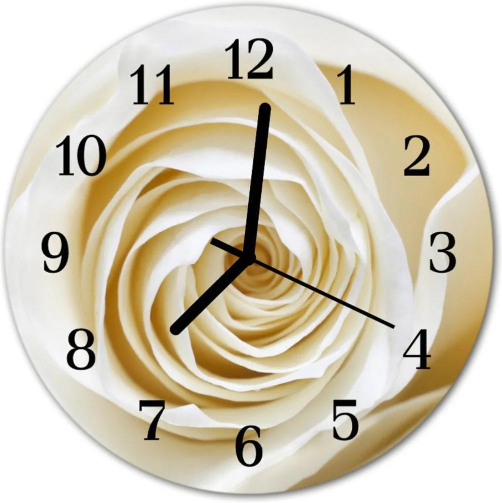 Nástenné sklenené hodiny  ruže