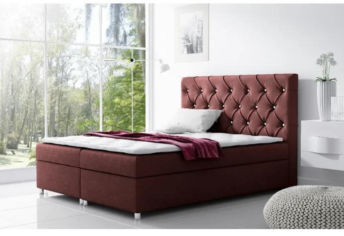 Čalúnená posteľ s úložným priestorom Vivien vínová 120 + topper zdarma