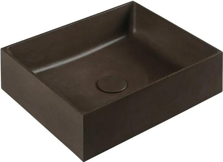 Formigo FG014 betónové umývadlo, 47,5x13x36,5 cm, tmavo hnedé