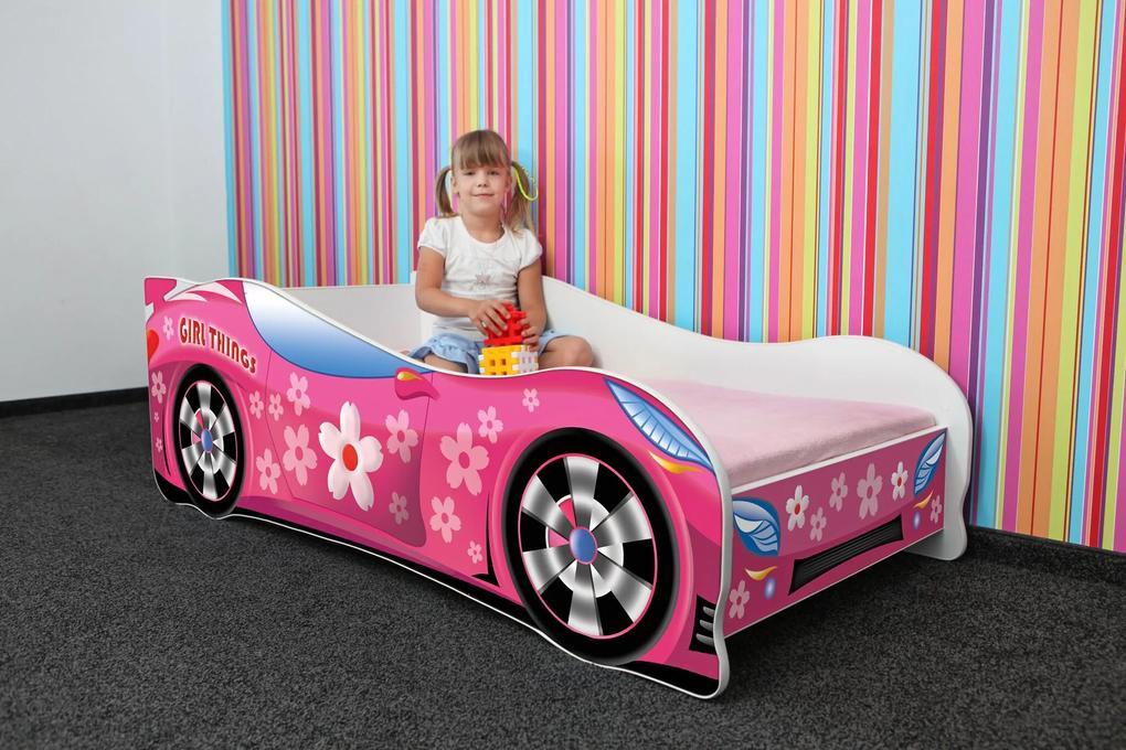 MAXMAX Detská autopostel GIRL THINGS 160x80 cm + MATRACE 160x80 pre dievča NIE