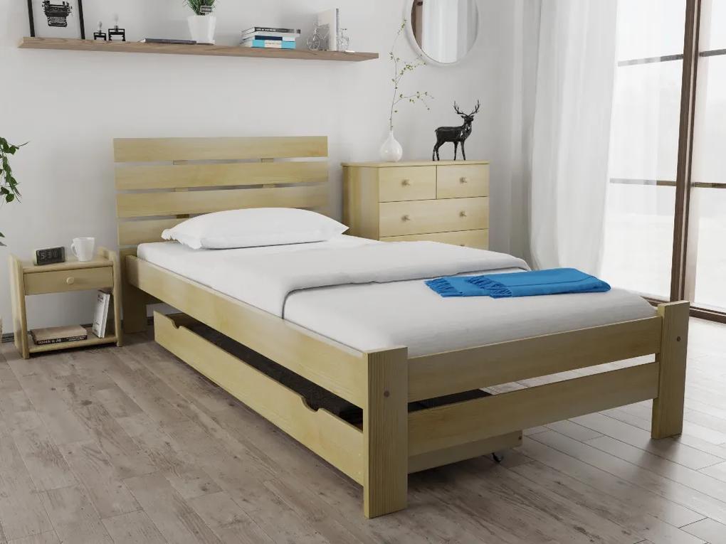 Posteľ PARIS zvýšená 80x200 cm, borovica Rošt: S latkovým roštom, Matrac: S matracom Economy 10 cm