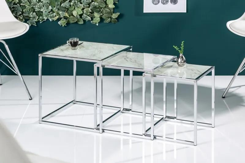 Germany I - Odkladací stolík Elements Sada 3ks sklenené biele